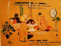 Modern Living, 2011, Ink and bleach on paper, 19 3/4 x 25 1/2 inches, courtesy of Heiner Contemporary and the artist