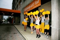 DC Cheer!, an artist project led by Kristina Bilonick, greeted artists with encouragement as they arrived. Photo by E. Brady Robinson