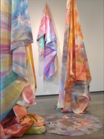 Installation view, Sam Gilliam, Close to Trees, 2011 | Acrylic, polypropylene, nylon, and a mirror, site-specific installation. Courtesy the American University Museum and Marsha Mateyka Gallery, Washington, DC.