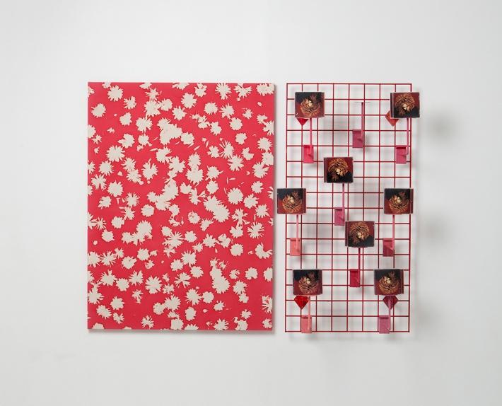 "Alex Da Corte. ""Velvetteen (Wilson Kelvin McQuaid)"" |Kyle Thurman's Untitled (501 Hudson Street, New York, NY 10014), Metal Gridwall, Janet Jackson's The Velvet Rope CD's, Enamel Paint, Display Brackets | 2013"