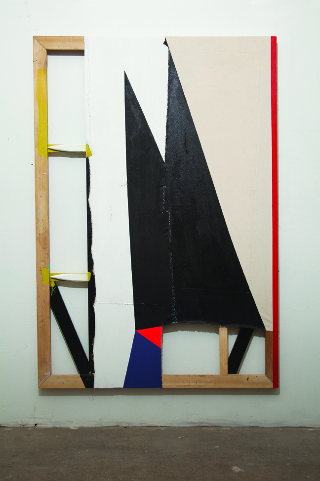"""Dose Fodder"" 2011. Wood, canvas, thread, acrylic paint, latex paint. 69 x 47 inches"