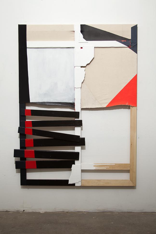 """""""Glow Boy"""" 2011. Wood, canvas, thread, acrylic paint, found cloth, found wood. 66 x 48 inches"""