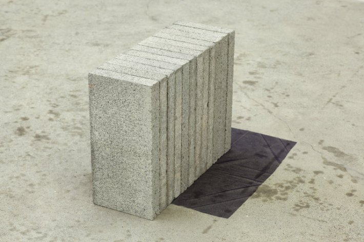 Mitzi Pederson, Untitled, 2014, Concrete, tulle, 15 ½ x 14 ½ x 25 ½ inches. Courtesy of Ratio 3